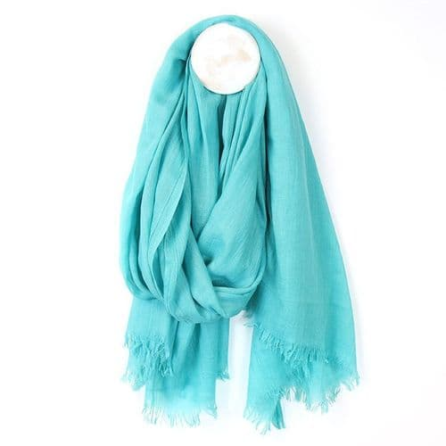 POM Peace Of Mind Plain Scarf with Eyelash Fringe in Aqua