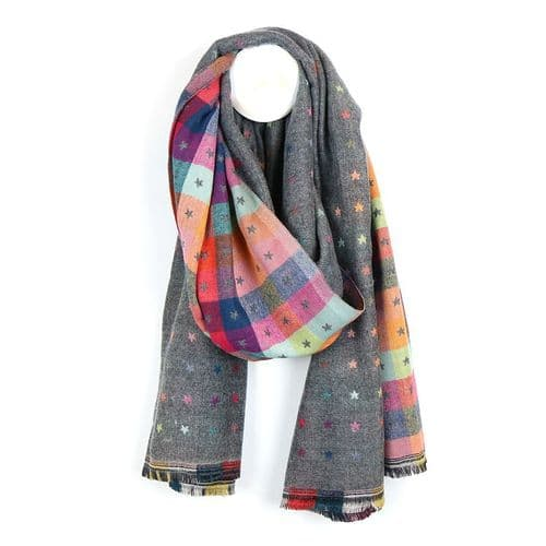 POM Peace Of Mind Reversible Scarf With Little Jacquard Stars in Grey and Multi