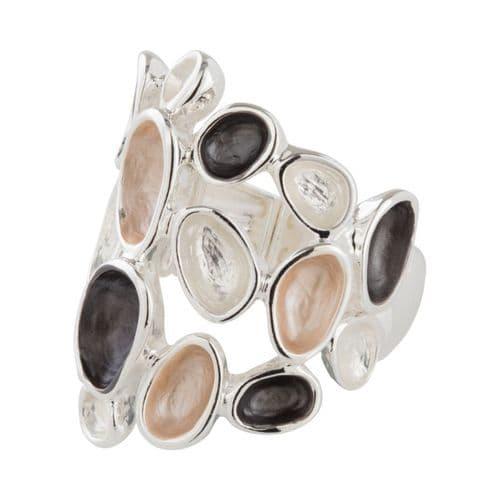Pink & Grey Enamel Elasticated Size Free Ring