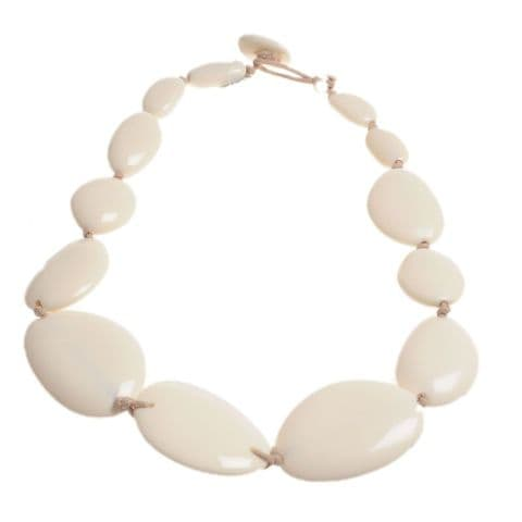 A Jackie Brazil Long Flat Riverstones Necklace in Cream