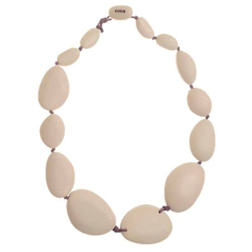 A Jackie Brazil Matt Finish Long Flat Riverstone Necklace in Boheme Natural Beige
