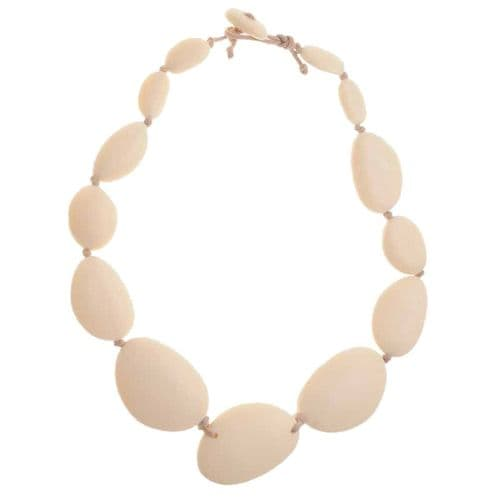 A Jackie Brazil Matt Finish Long Flat Riverstone Necklace in Boheme Natural Cream