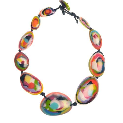 A Jackie Brazil Short Flat Riverstone Necklace in Kandinsky B