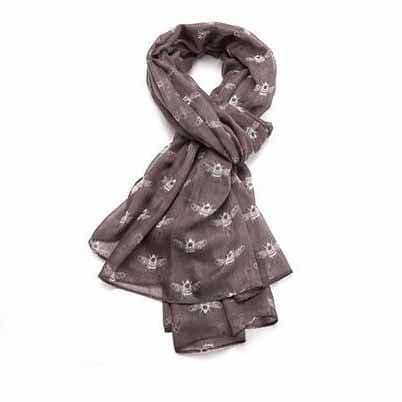 Bisoux Bumble Bee Printed Extra Soft Scarf in Grey
