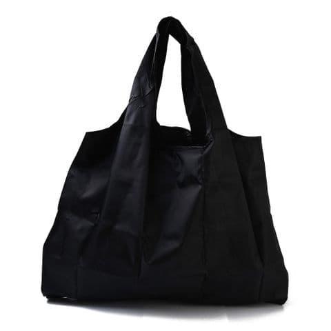Bisoux Foldable Reusable Eco-Friendly Waterproof Shopping Bag In Plain Black