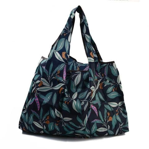 Bisoux Foldable Reusable Eco-Friendly Waterproof Shopping Bag In Teal Leaf Print