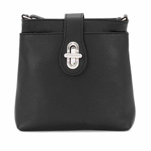 Bisoux Genuine Leather Classic Cross Body Bag Handbag in Black