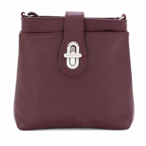 Bisoux Genuine Leather Classic Cross Body Bag Handbag in Burgundy