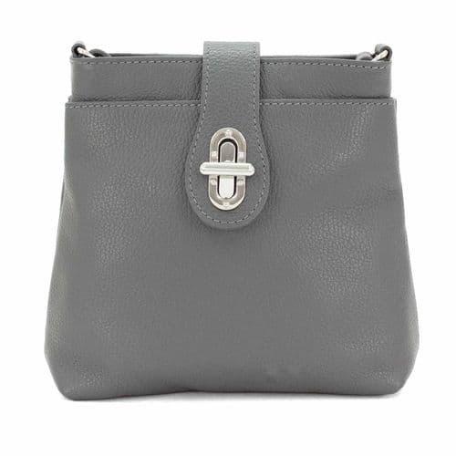 Bisoux Genuine Leather Classic Cross Body Bag Handbag in Dark Grey