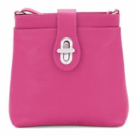 Bisoux Genuine Leather Classic Cross Body Bag Handbag in Magenta Pink
