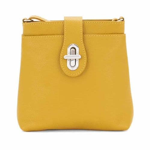 Bisoux Genuine Leather Classic Cross Body Bag Handbag in Mustard