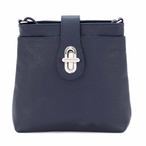 Bisoux Genuine Leather Classic Cross Body Bag Handbag in Navy Blue