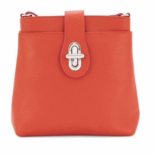 Bisoux Genuine Leather Classic Cross Body Bag Handbag in Orange