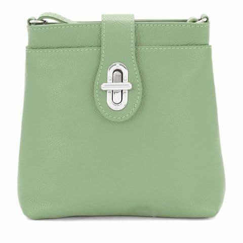 Bisoux Genuine Leather Classic Cross Body Bag Handbag in Sage Green