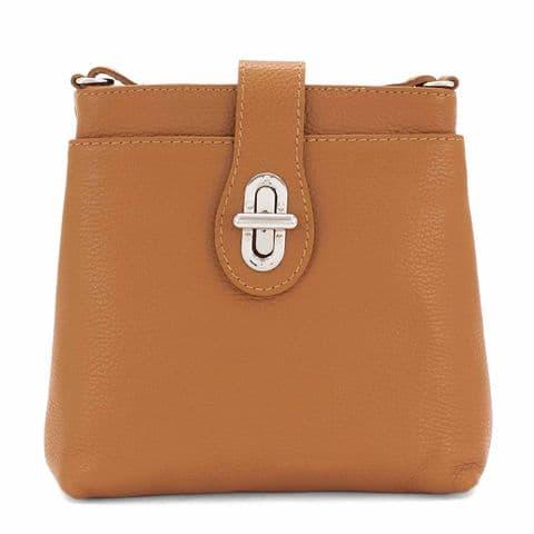 Bisoux Genuine Leather Classic Cross Body Bag Handbag in Tan