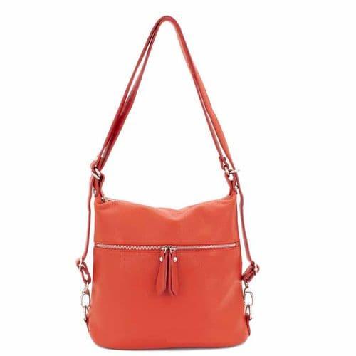 Bisoux Genuine Leather Convertable Backpack Shoulder Bag Handbag in Orange