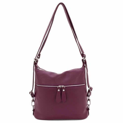 Bisoux Genuine Leather Convertible Backpack Shoulder Bag Handbag in Burgundy