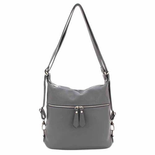 Bisoux Genuine Leather Convertible Backpack Shoulder Bag Handbag in Grey