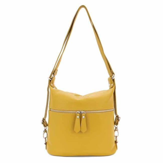 Bisoux Genuine Leather Convertable Backpack Shoulder Bag Handbag in Mustard