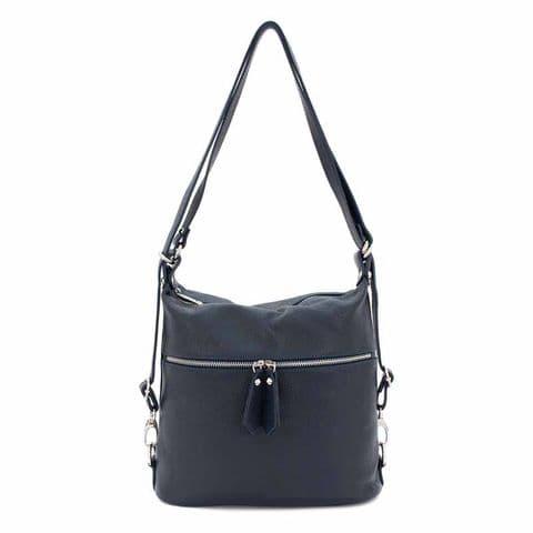 Bisoux Genuine Leather Convertible Backpack Shoulder Bag Handbag in Navy