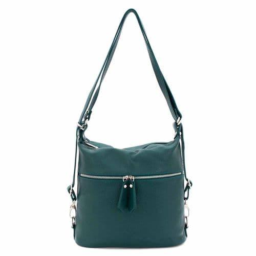 Bisoux Genuine Leather Convertible Backpack Shoulder Bag Handbag in Teal