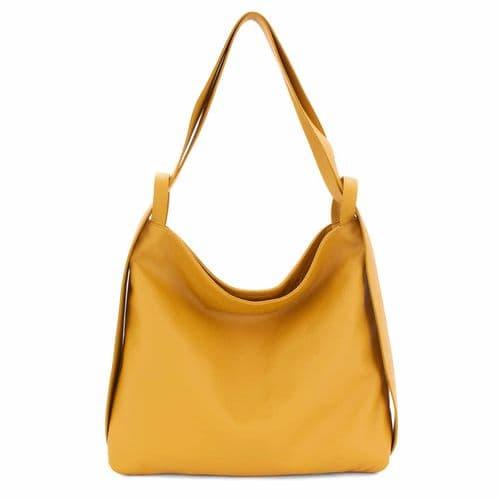 Bisoux Genuine Leather Oversized Convertible Backpack Shoulder Bag Handbag in Mustard
