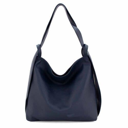 Bisoux Genuine Leather Oversized Convertible Backpack Shoulder Bag Handbag in Navy
