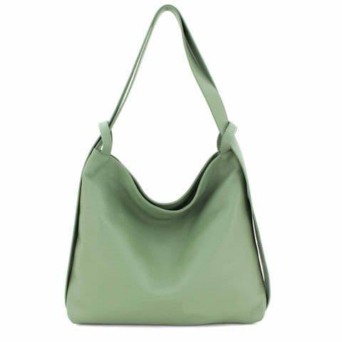 Bisoux Genuine Leather Oversized Convertible Backpack Shoulder Bag Handbag in Sage Green