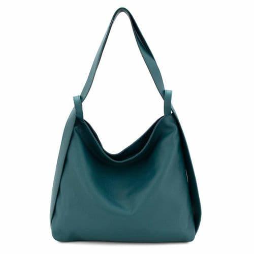 Bisoux Genuine Leather Oversized Convertible Backpack Shoulder Bag Handbag in Teal