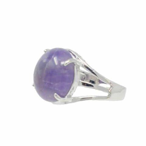 Bisoux Handmade Adjustable Semi Precious Round Stone Ring in Amethyst