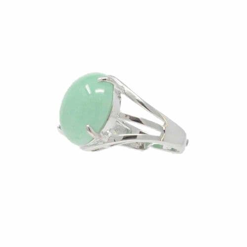 Bisoux Handmade Adjustable Semi Precious Round Stone Ring in Aventurine