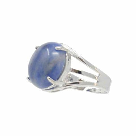 Bisoux Handmade Adjustable Semi Precious Round Stone Ring in Lapis Lazuli