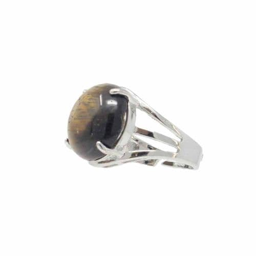 Bisoux Handmade Adjustable Semi Precious Round Stone Ring in Tigers Eye
