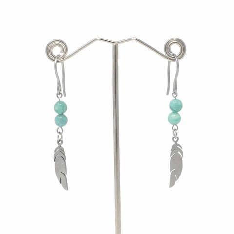 Bisoux Handmade Amazonite Feather Drop Earrings with Stainless Steel Hooks