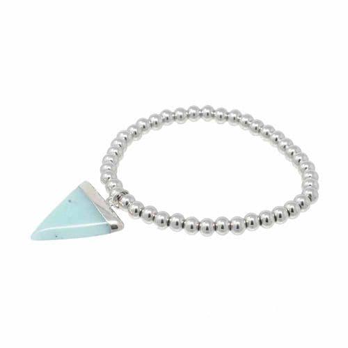 Bisoux Handmade Amazonite Triangle Semi Precious Stone Bracelet