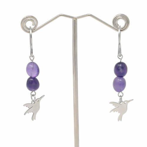 Bisoux Handmade Amethyst Bird Drop Earrings with Stainless Steel Hooks