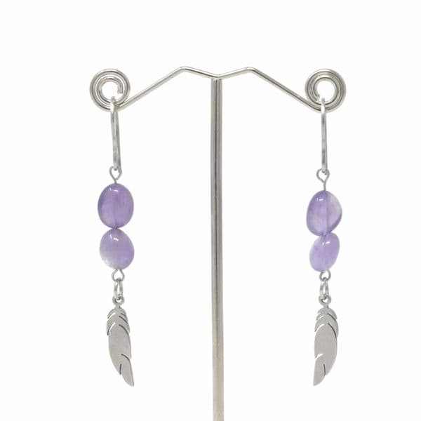 Bisoux Handmade Amethyst Feather Drop Earrings with Stainless Steel Hooks