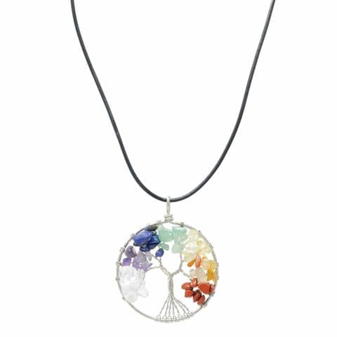 Bisoux Handmade Chakra Seven Semi Precious Stone Tree Of Life Necklace on Short Leather