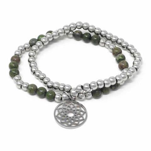 Bisoux Handmade Double Semi Prcious Stone Crystal Flower of Life Bracelet in Green Rainforest Jasper