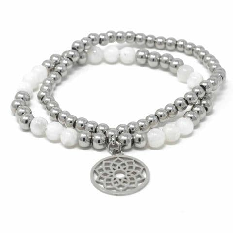 Bisoux Handmade Double Semi Precious Stone Crystal Flower of Life Bracelet in Moonstone