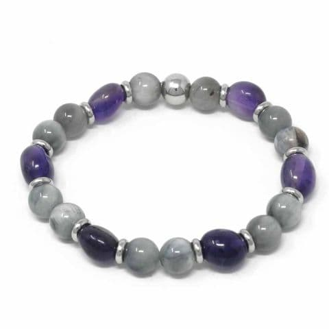 Bisoux Handmade Mixed Semi Precious Beaded Bracelet in Eagles Eye and Amethyst