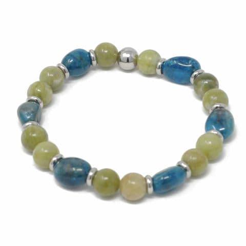 Bisoux Handmade Mixed Semi Precious Beaded Bracelet in Jade and Apatite