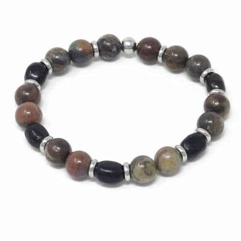 Bisoux Handmade Mixed Semi Precious Beaded Bracelet in Natural Flower Agate and Shungite