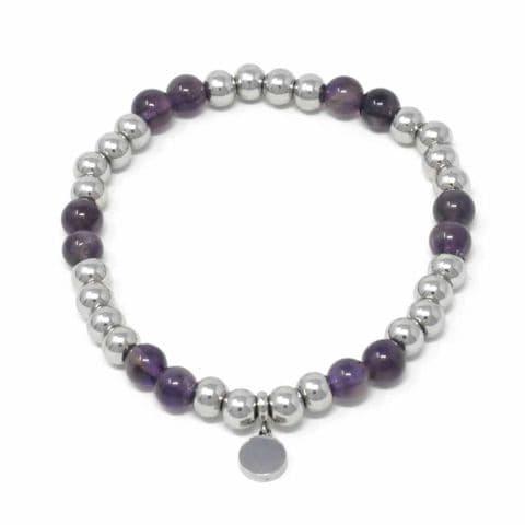 Bisoux Handmade Semi Precious Stone Crystal Circle Bracelet in Amethyst