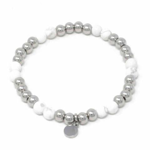 Bisoux Handmade Semi Precious Stone Crystal Circle Bracelet in Howlite