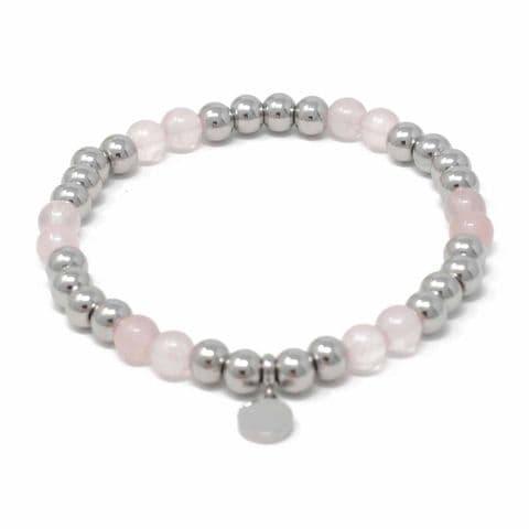 Bisoux Handmade Semi Precious Stone Crystal Circle Bracelet in Rose Quartz