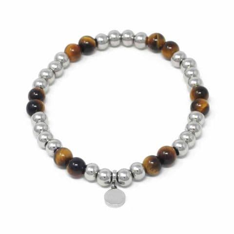 Bisoux Handmade Semi Precious Stone Crystal Circle Bracelet in Tigers Eye