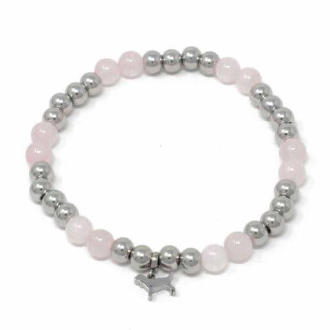 Bisoux Handmade Semi Precious Stone Crystal Dog Bracelet in Rose Quartz