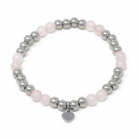 Bisoux Handmade Semi Precious Stone Crystal Heart Bracelet in Rose Quartz