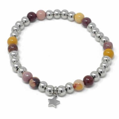 Bisoux Handmade Semi Precious Stone Crystal Star Bracelet in Mookaite